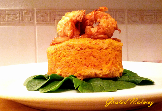 Spicy Plantain Pudding with Ginger Shrimps