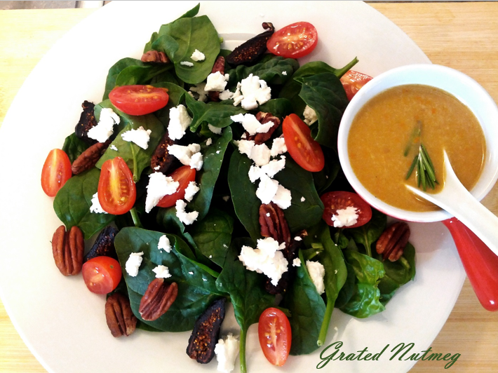 Baby Spinach and Figs Salad with Tamarind-Citrus Vinaigrette
