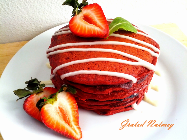 Red Velvet Pancakes With Sweet Cream Cheese Topping Recipe ...