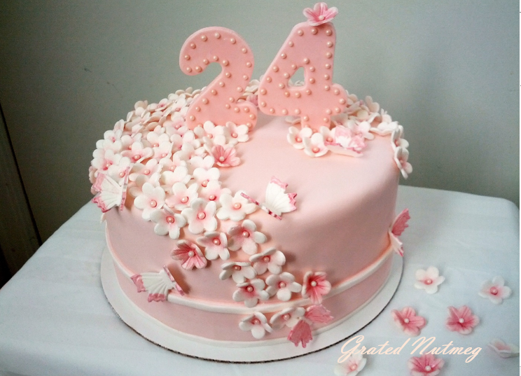 Pink orchard cake grated nutmeg flowers cake 2 mightylinksfo