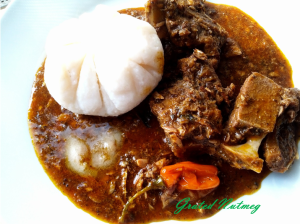 Miyan Busheshe Kubewa served with whole brukunu and mai shanu. Eaten with Tuwon Shinkafa