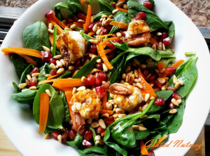 garlic shrimps spinach salad