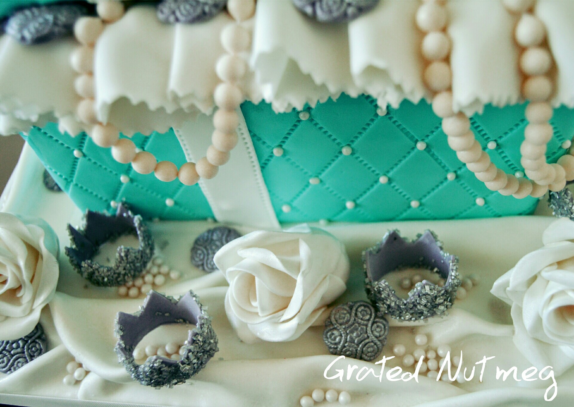 The Making of a Blue Jewelry Gift Box Cake Grated Nutmeg