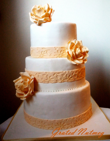 Gold Cak This Is A Three Tiered Cake Made To Mark The 50th Birthday