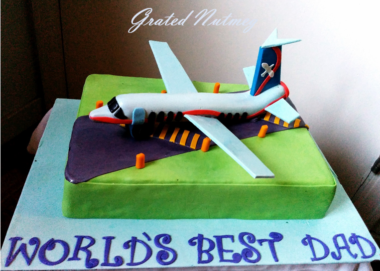Fondant aircraft pictorial – grated nutmeg.