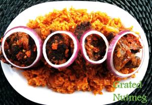 Peppered Meat on Jollof Rice