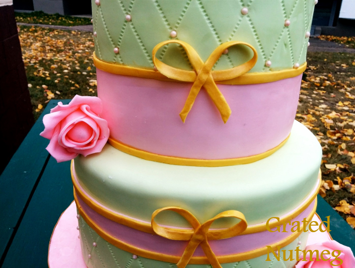Pink And Green Birthday Cake With Pink Roses Grated Nutmeg