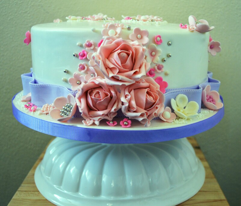 Mothers Day Cake with Flowers Grated Nutmeg