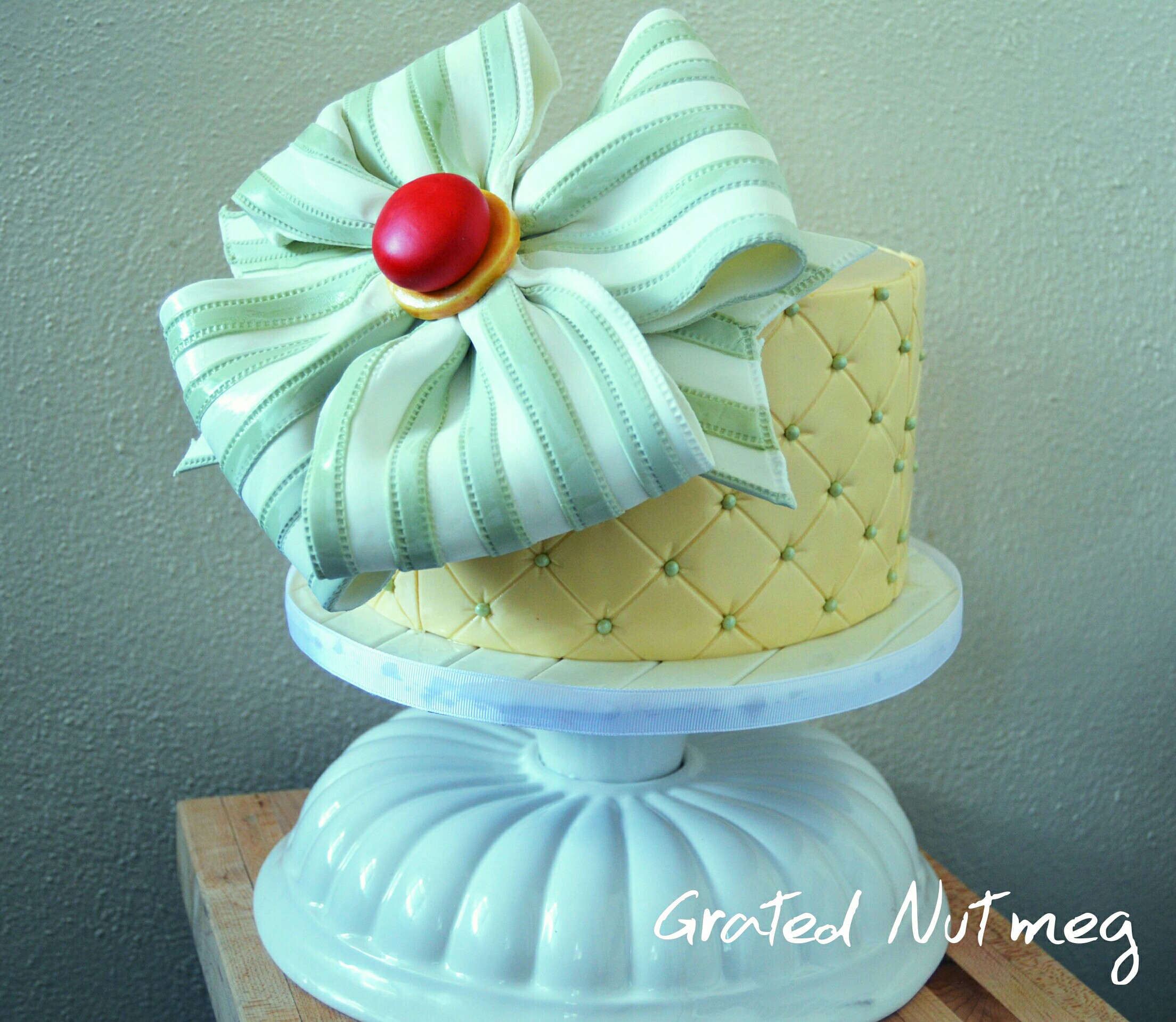 The Making of a Diamond Patterned Cake with a Dramatic Bow – Grated ...