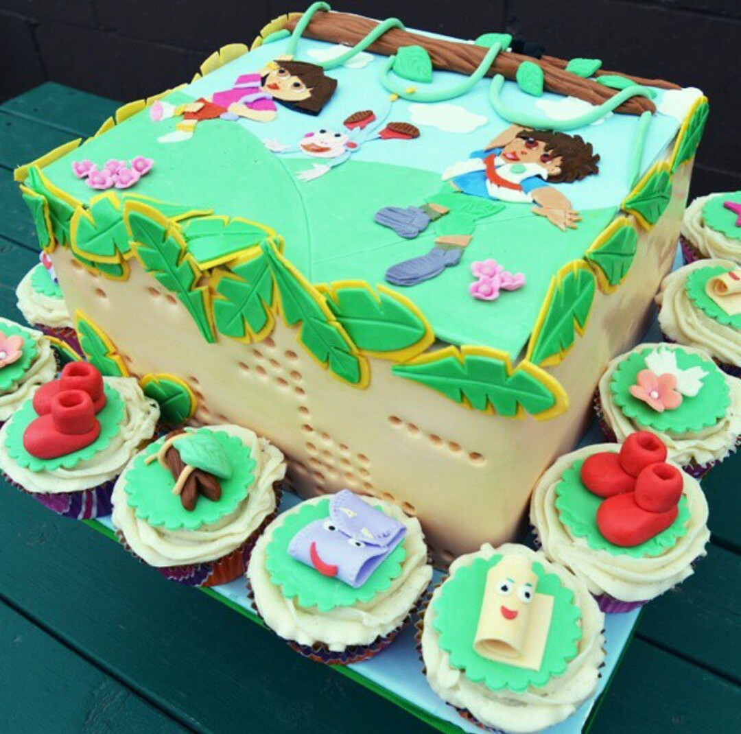 Dora And Diego Cake With 2D Topper