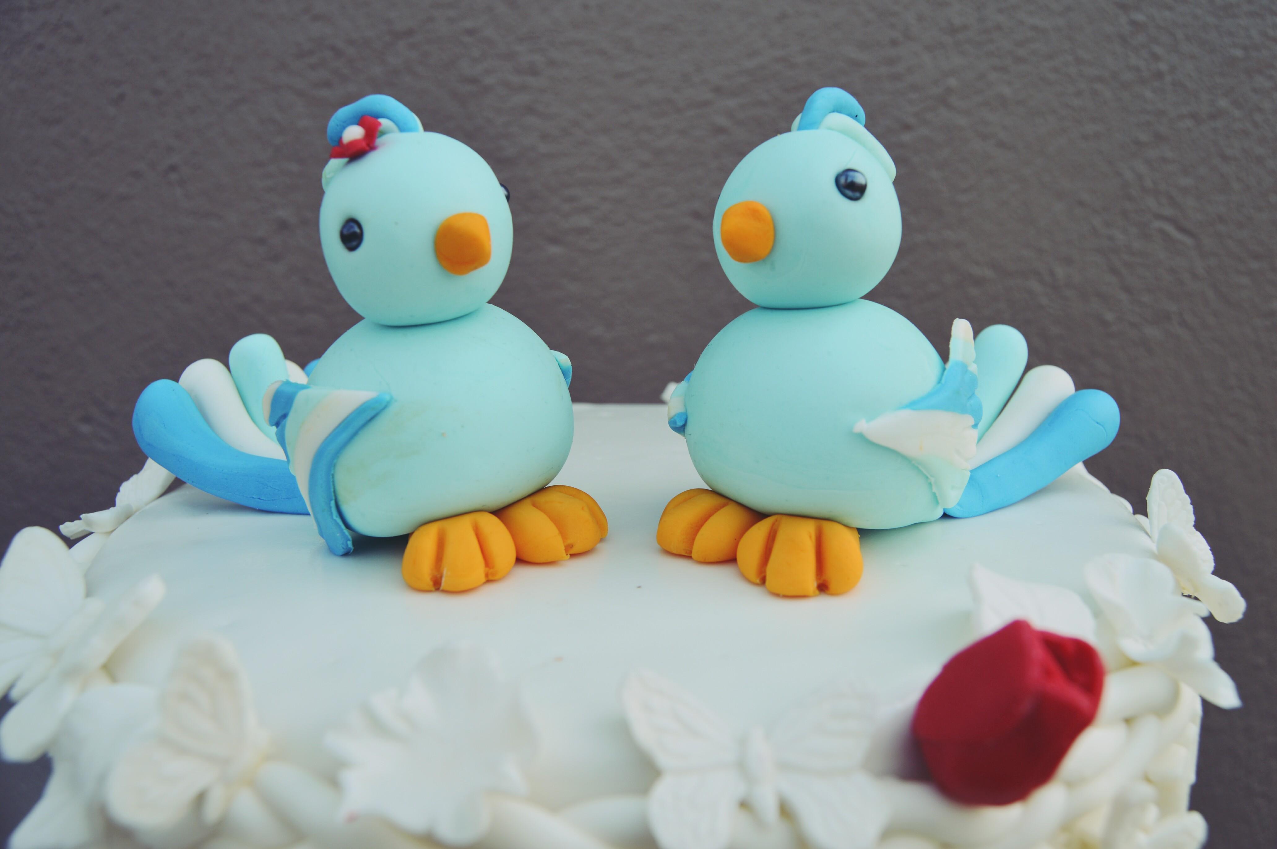 Cake With Fondant Bird : Fondant Lovebirds Pictorial   Grated Nutmeg