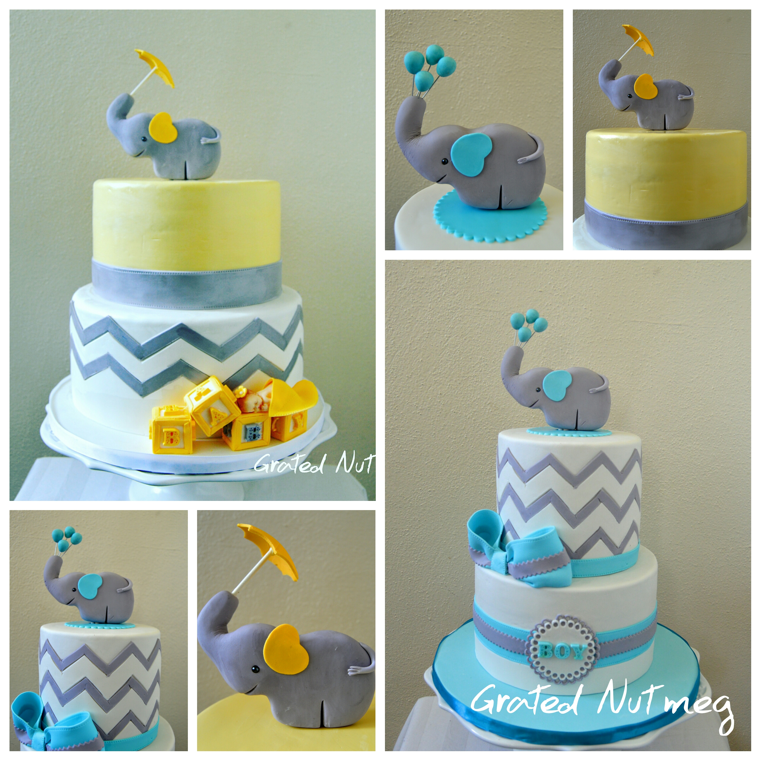 The Making Of Chevron Baby Shower Cakes With Elephant Toppers